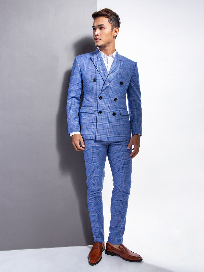 Bộ vest caro xanh 1105 - 1