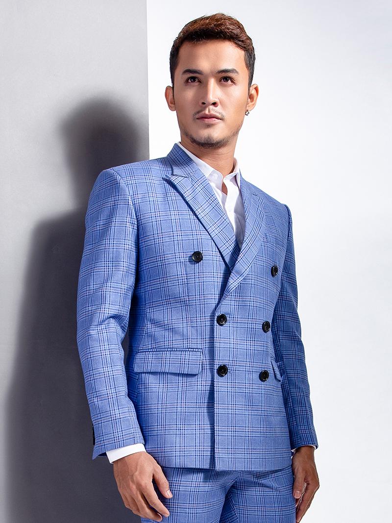 Áo vest caro xanh 1105 - 2
